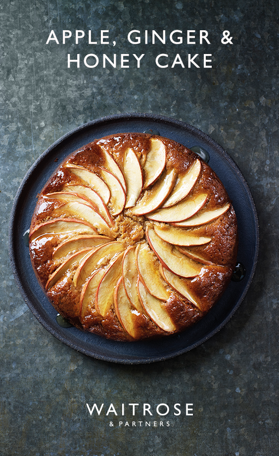 Make the most of seasonal produce with our apple, ginger and honey cake. Tip: this cake works equally well with pears, try adding 1 tsp mixed spice instead of the ginger. Click on the image for the full Waitrose & Partners recipe. #honeycake