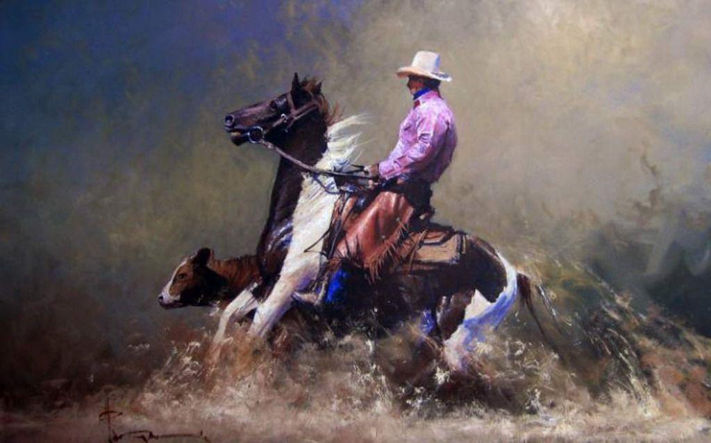 oleos-de-caballos-caminado-corriendo-por-el-agua-pinturas_19.jpg (1024×639)