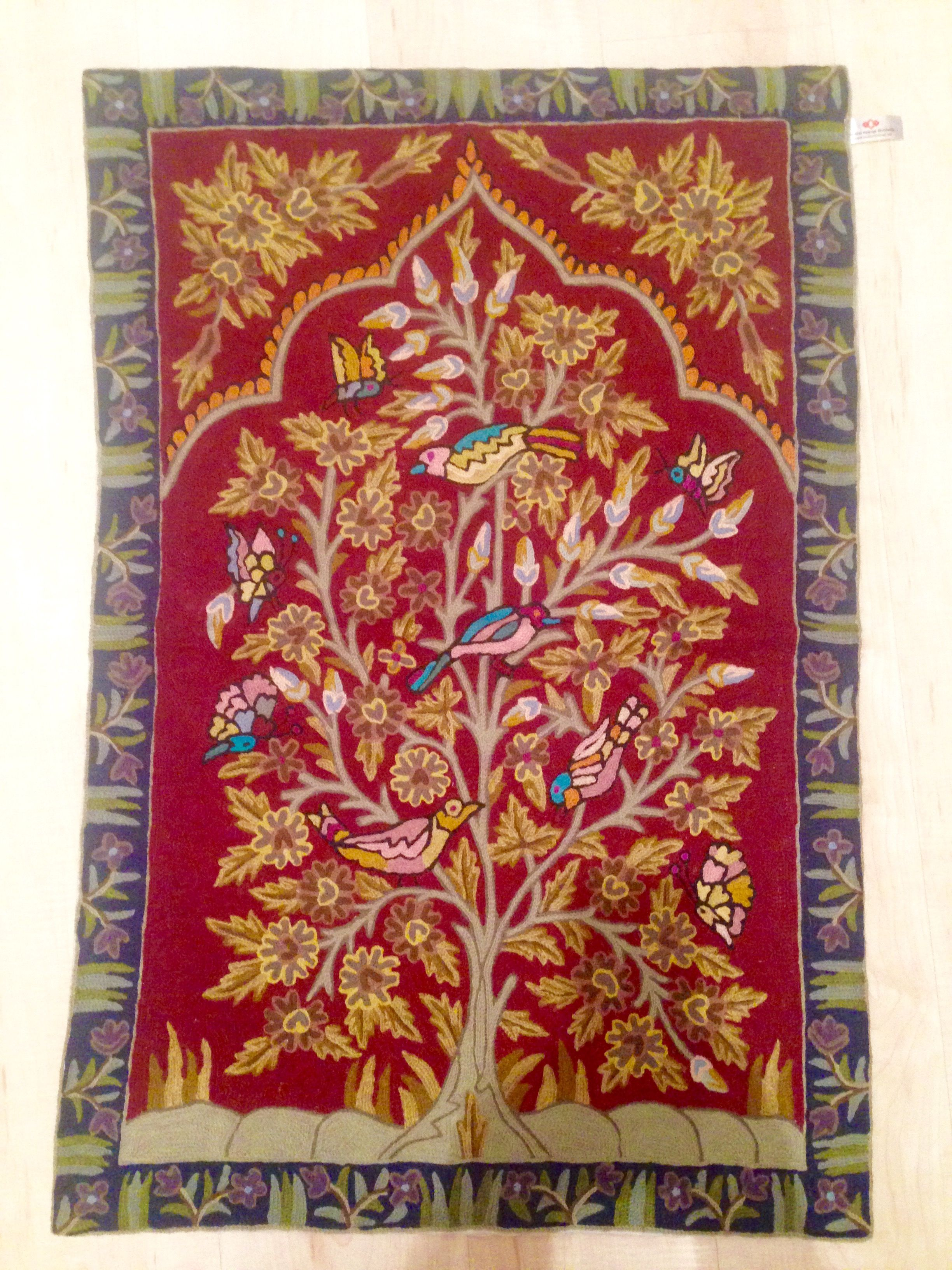 Handmade Kashmiri Wool Embroidery Wall Hanging Tapestry Hanging