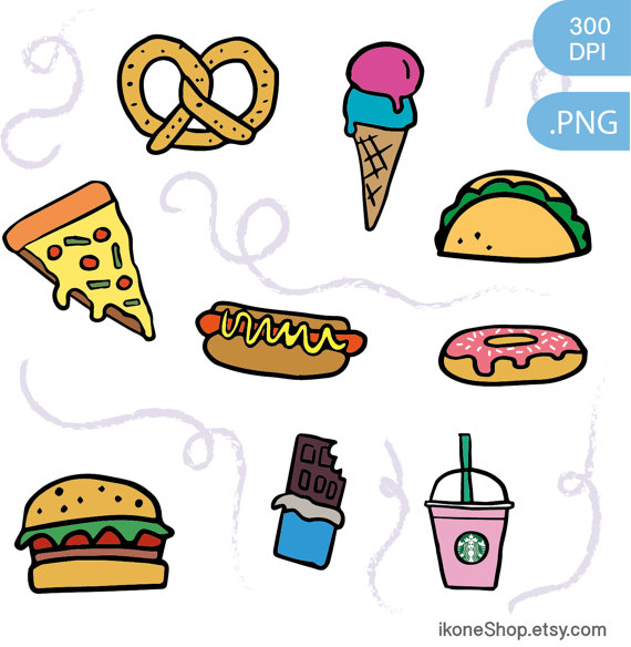 Junk Food Clipart Fast Food And Sweets Digital Stickers Etsy In 2021 Food Clipart Snack Clipart Food Drawing