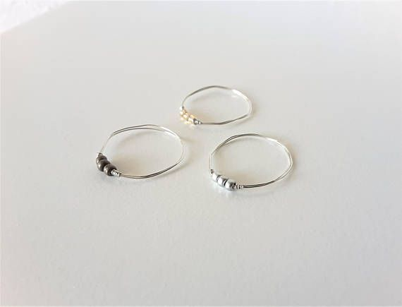 White Bead Gold Wire Ring