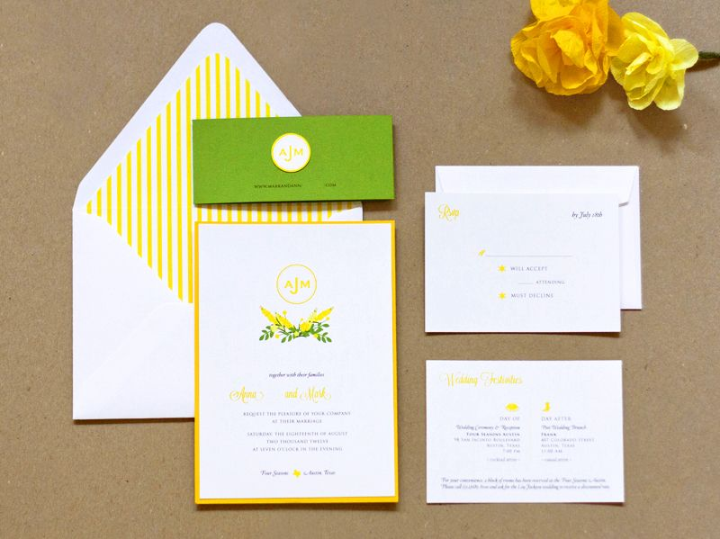 Anna Marks Preppy Yellow And Green Wedding Invitations
