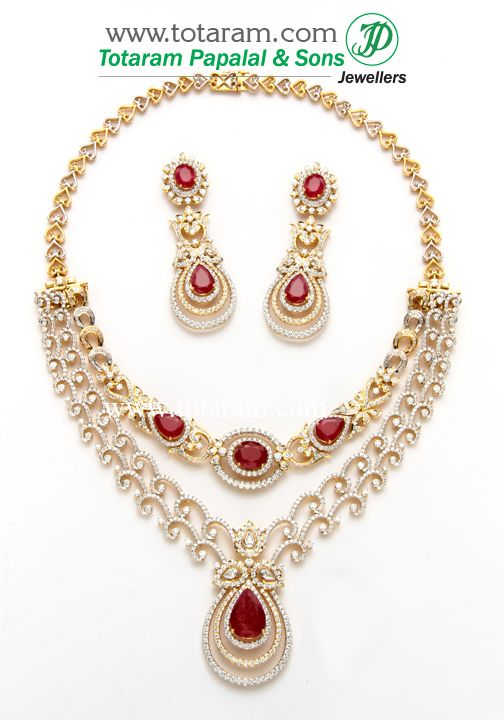 18k Gold 2 In 1 Diamond Necklace Earrings Set With Ruby Onyx Gold Jewelry Stores Diamond Necklace Set Gold Jewelry Earrings