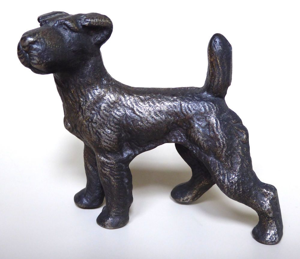 Vtg Irish Terrier Figurine Fox Airedale Dog Cast Brass Metal 3 Inches 1920 S Airedale Dogs Irish Terrier Figurines