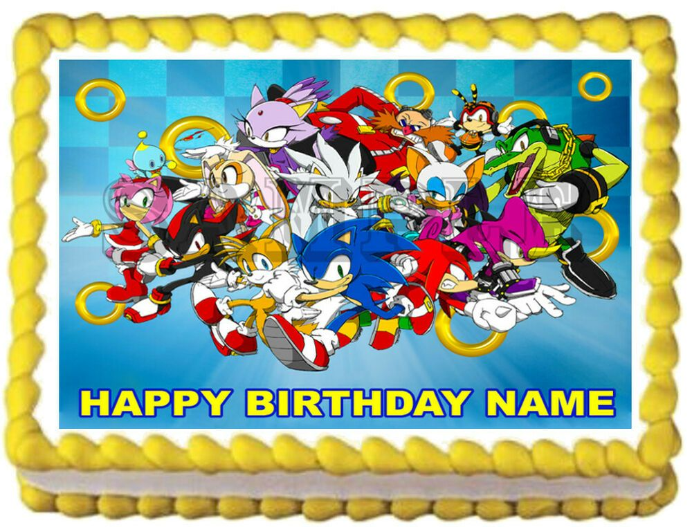 happy birthday sonic the hedgehog cake topper