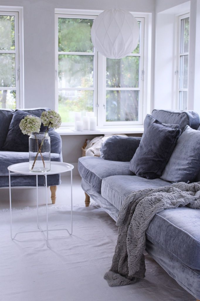 Cosy Living Room With A Mist Blue Grey Velvet Sofa Scandinavian Interior Of Julia Khouri Cl Living Room Scandinavian Cosy Living Room Grey Sofa Living Room