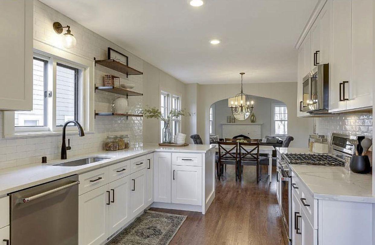 pin by ashley duryea on h o m e open shelving kitchen floor tile modern farmhouse kitchens on farmhouse kitchen tile floor id=40642