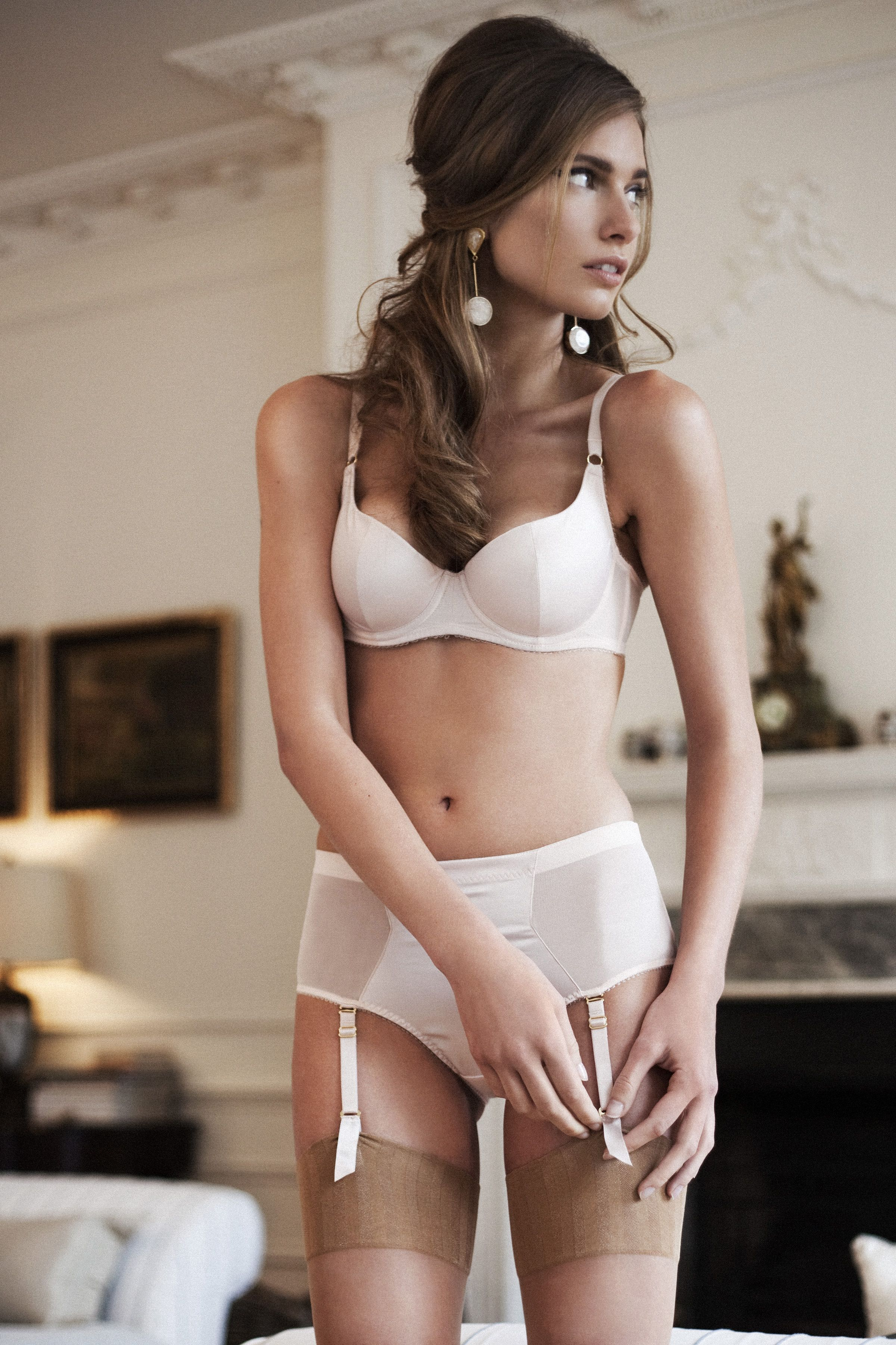 bbc6be2a9c  Life Magazine Lingerie  13 Penelope Bra by L Agent Penelope Brief by  L Agent Nude Stockings by Falke Earrings by Marni