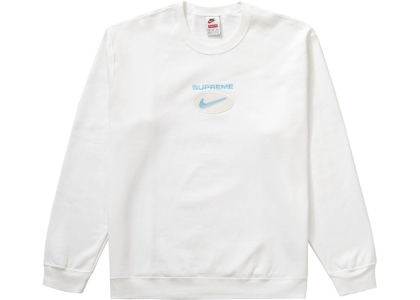 Supreme Nike Jewel Crewneck White In 2021 Supreme Clothing Supreme Logo Nike Crewneck [ 1000 x 1400 Pixel ]