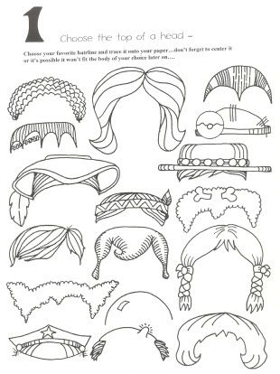 10 page cartoon head pieces for your kids to trace and create
