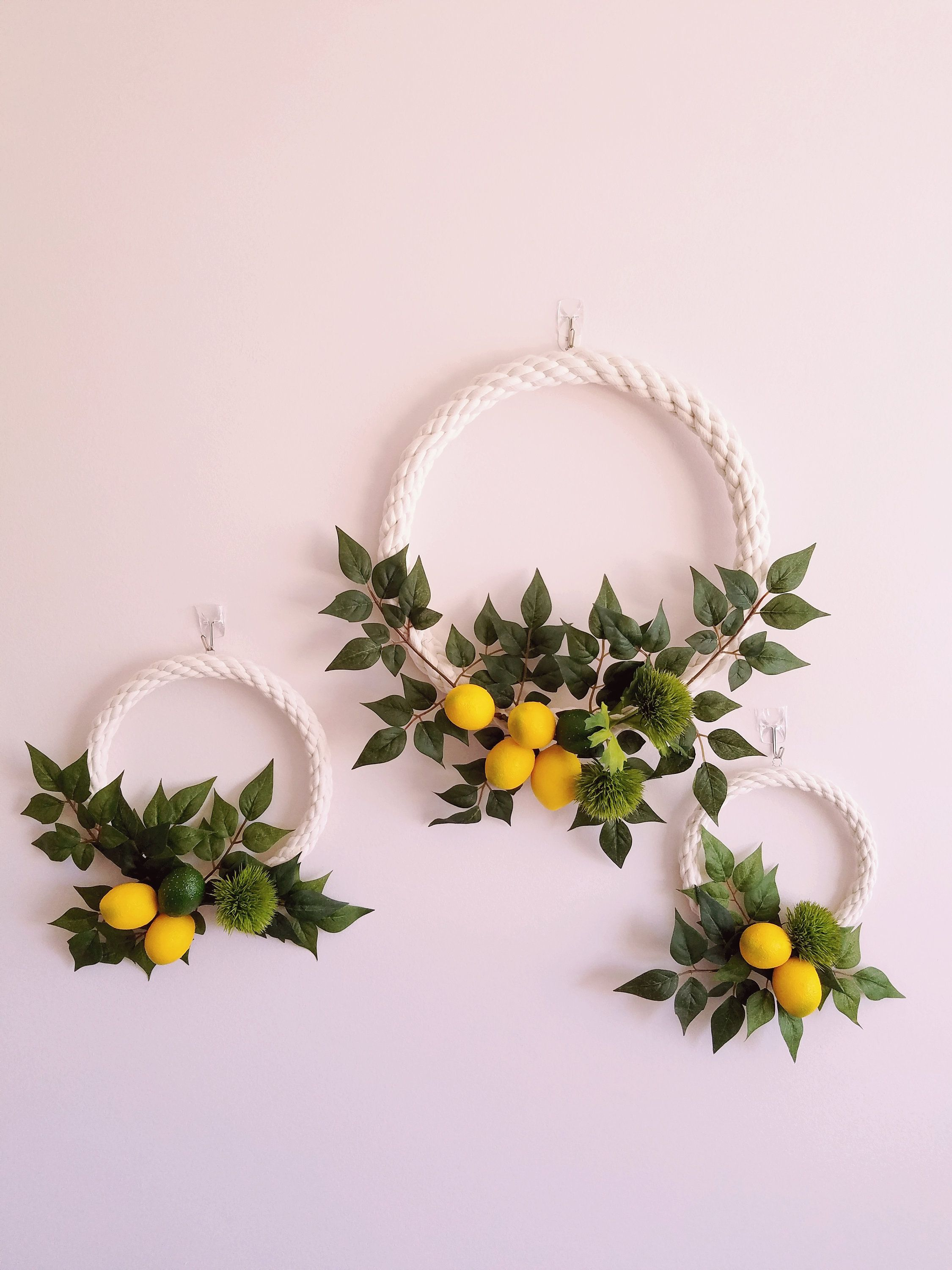 Modern Hoop Wreaths, Lemon Wreaths,  Lemon Wall Decor, Nursery Wreath Set, Photography Backdrop