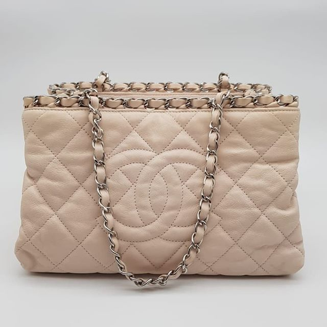 391de511f9c3c9 Preloved Chanel Mini Chain Me Tote Light Beige Quilted Lambskin Silver  Hardware Serial