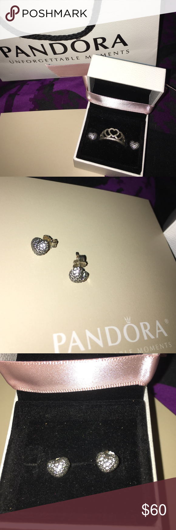 Pandora heart earings and ring w/ orig. packaging Gently used and come with original packaging. Ring is size 8 made with sterling silver and cubic zirconia.  Very tiny scratch on one side. Orig. Other than that both good condition. Earings made with same material. Orig. price of ring-$60, earings-$60 Pandora Jewelry Rings