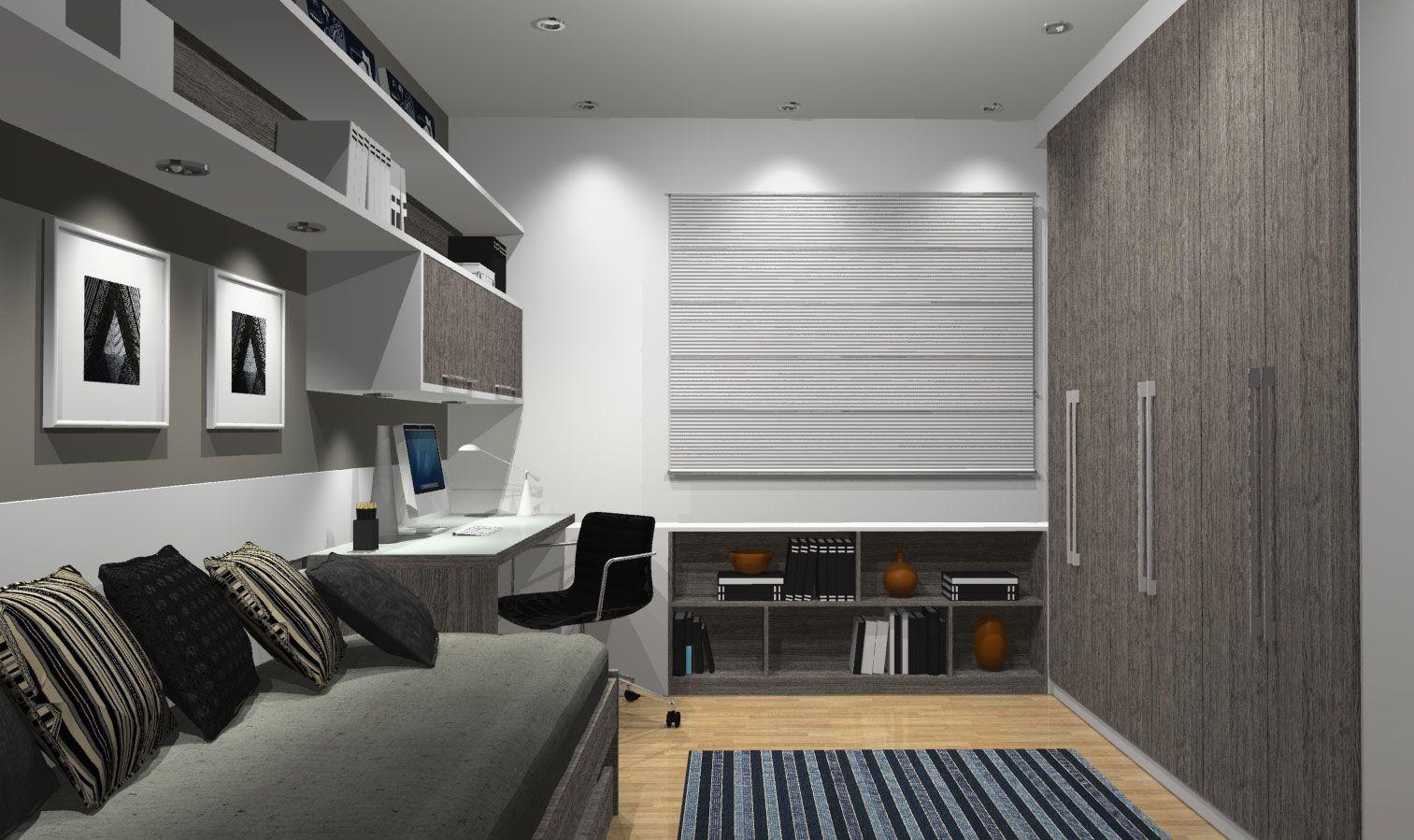 Veja Como Fazer A Decora O De Quarto De Solteiro Planejado Com  ~ Quarto De Solteiro Planejado Para Apartamento Pequeno