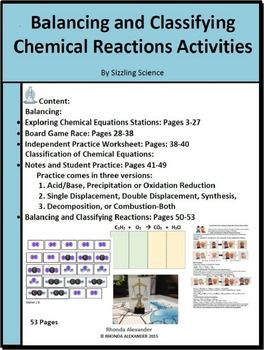 Balancing and Classifying Chemical Equations Activities | teaching ...