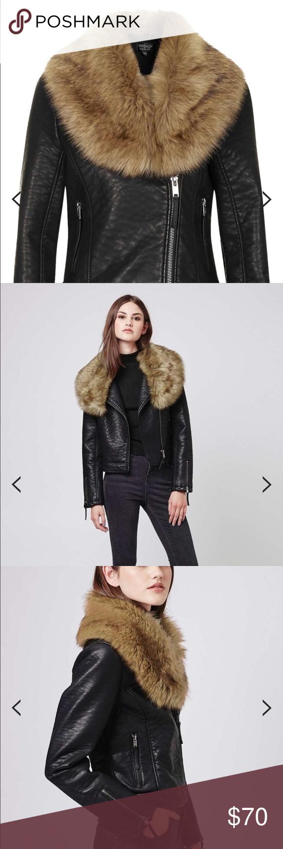Faux Fur Faux Leather Moto Jacket Size 2 Inside