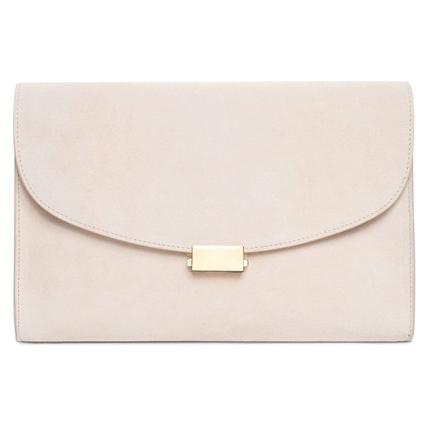 Mansur Gavriel Flat Clutch (€625) ❤ liked on Polyvore featuring bags, handbags, clutches, pink purse, suede purse, flat purse, pink handbags and mansur gavriel