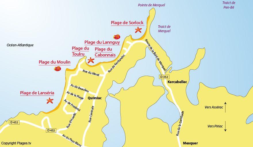 Plan Des Plages De Mesquer Quimiac 44 Loire Atlantique Plage