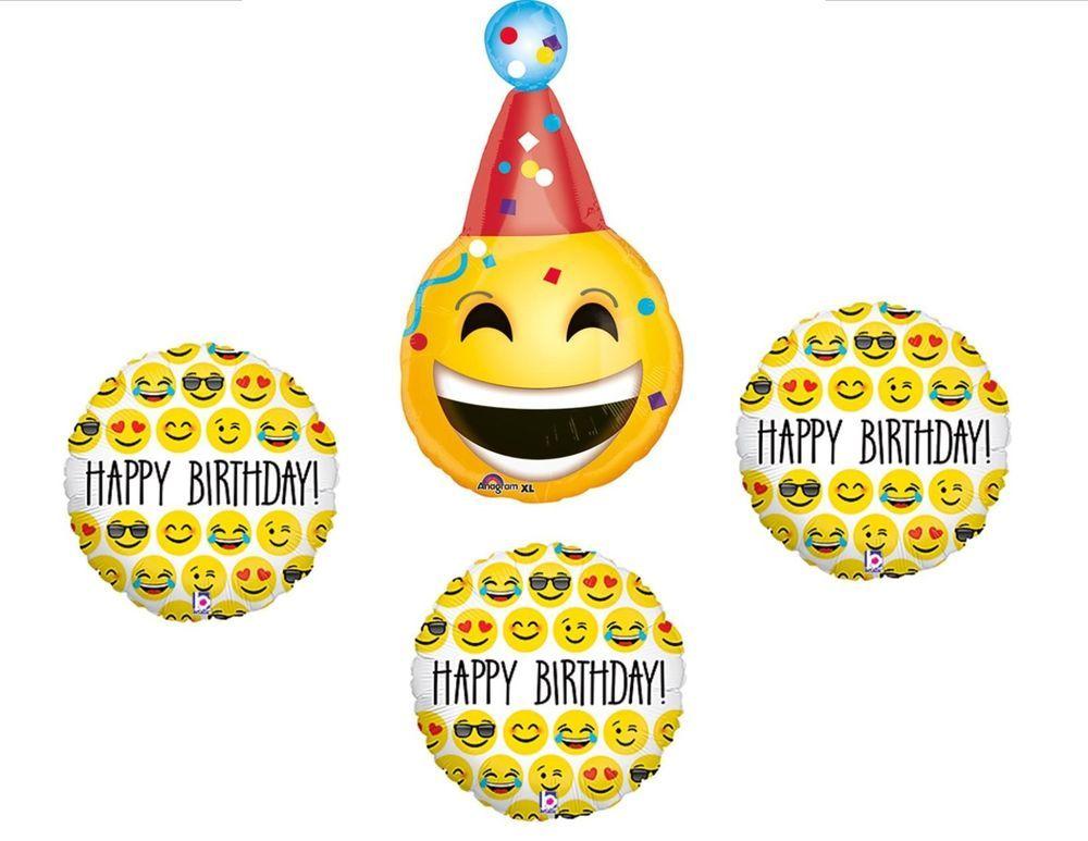 4pc Happy Birthday Emoji Mylar Balloons Yellow Smiley