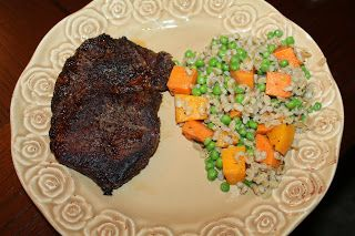 Cast Iron Steaks and Barley with Roasted Sweet Potatoes, Butternut Squash, and Steamed Peas..