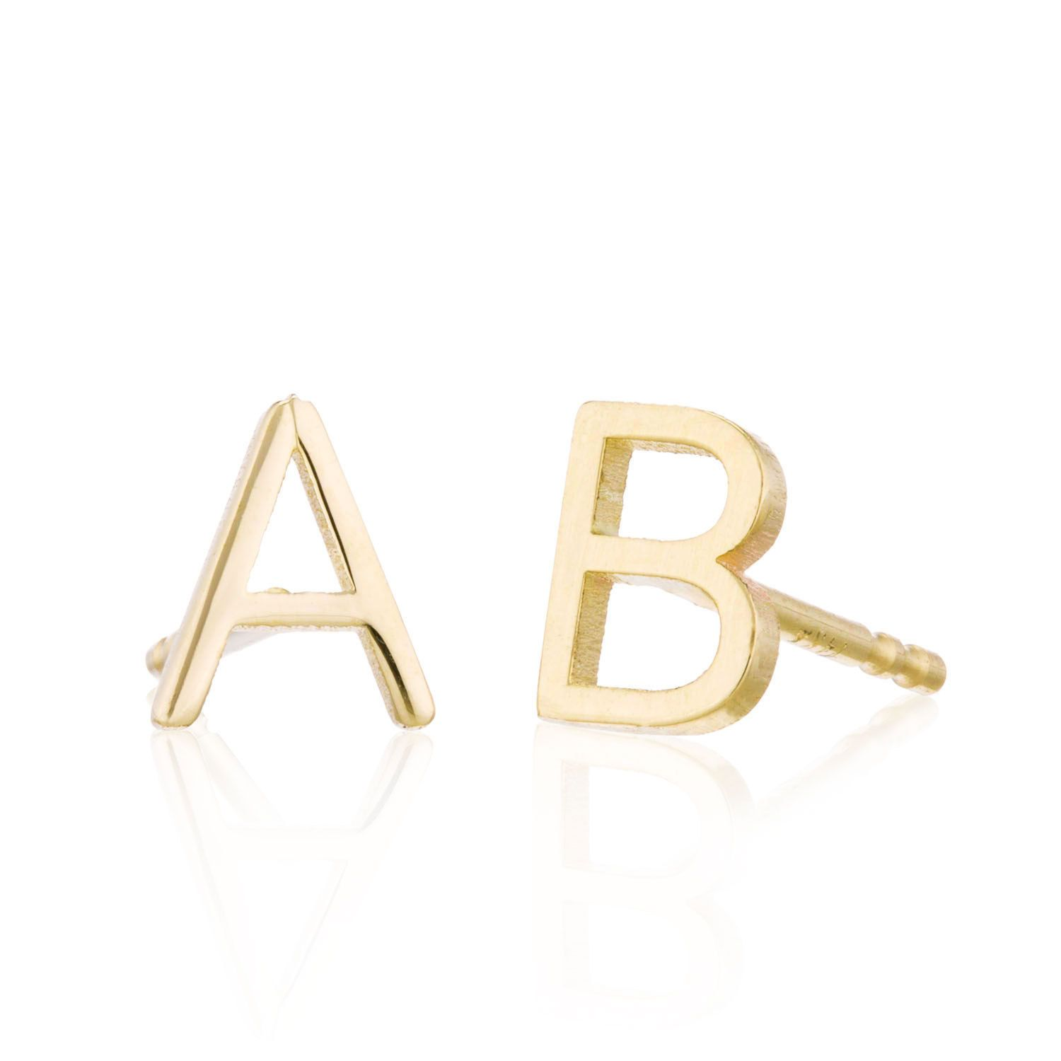 150 00 Initial Earrings Solid 14k Gold Studs Letter Personalized Monogram