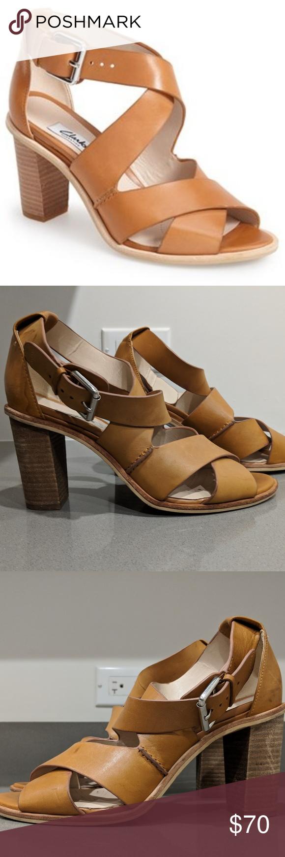 027e6dd0dd65 Clarks Narrative Oriana Bess Tan Sandal Heels 8.5 Used