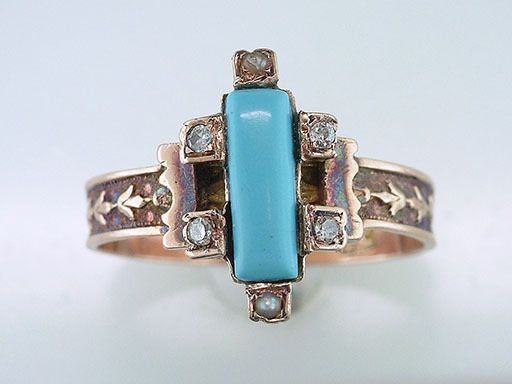 Vintage Antique Turquoise Diamond Pearl 14K Rose Gold Victorian