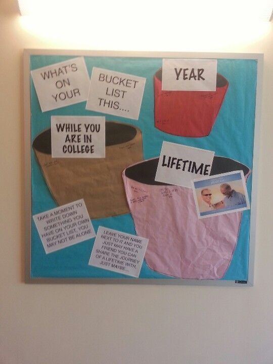 RA bulletin board idea. Bucket list for college, this year, and life. They can write directly on it. Great for the first month of semester to get your residents reaching for their dreams. @Jess Pearl Pearl Liu Pennington #rabulletinboards RA bulletin board idea. Bucket list for college, this year, and life. They can write directly on it. Great for the first month of semester to get your residents reaching for their dreams. @Jess Pearl Pearl Liu Pennington #rabulletinboards