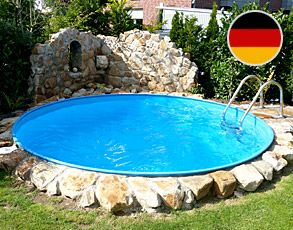 Stahlwandpool umrandung  Rundbecken Stahlwandpool 1,20 m tief Made in Germany | Pool ' s ...
