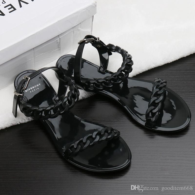 483a433a5  sandals Europe and the United States new plastic chain beach shoes candy  color jelly sandals chain flat bottomed out sandals