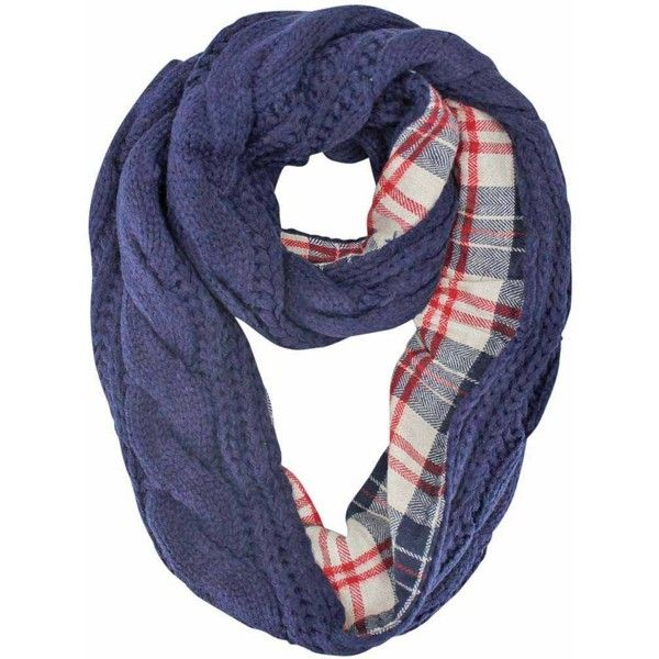 Navy Blue Cable Knit Infinity Scarf With Flannel Lining ($22) ❤ liked on Polyvore featuring accessories, scarves, heavy, navy blue, plaid infinity scarf, loop scarf, infinity scarves, navy blue shawl and tube scarf