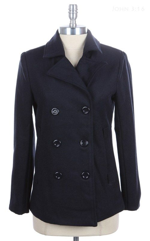 Classic Black Double Breasted Peacoat ($39.99) Shop www.88dresses.com.