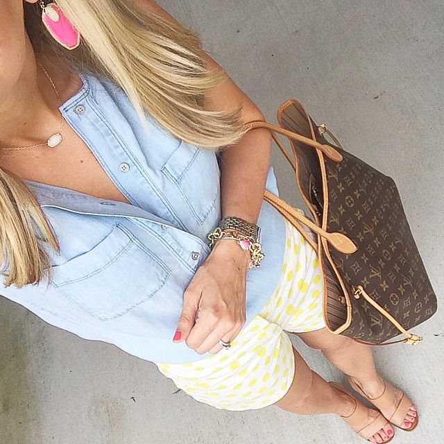 Click to shop the look: chambray top, polka dot shorts, Kendra Scott, neverfull, shorts and wedges