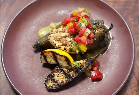Spice up your night with Greens Restaurant's recipe for Fire Roasted Poblano Chiles. Yum.