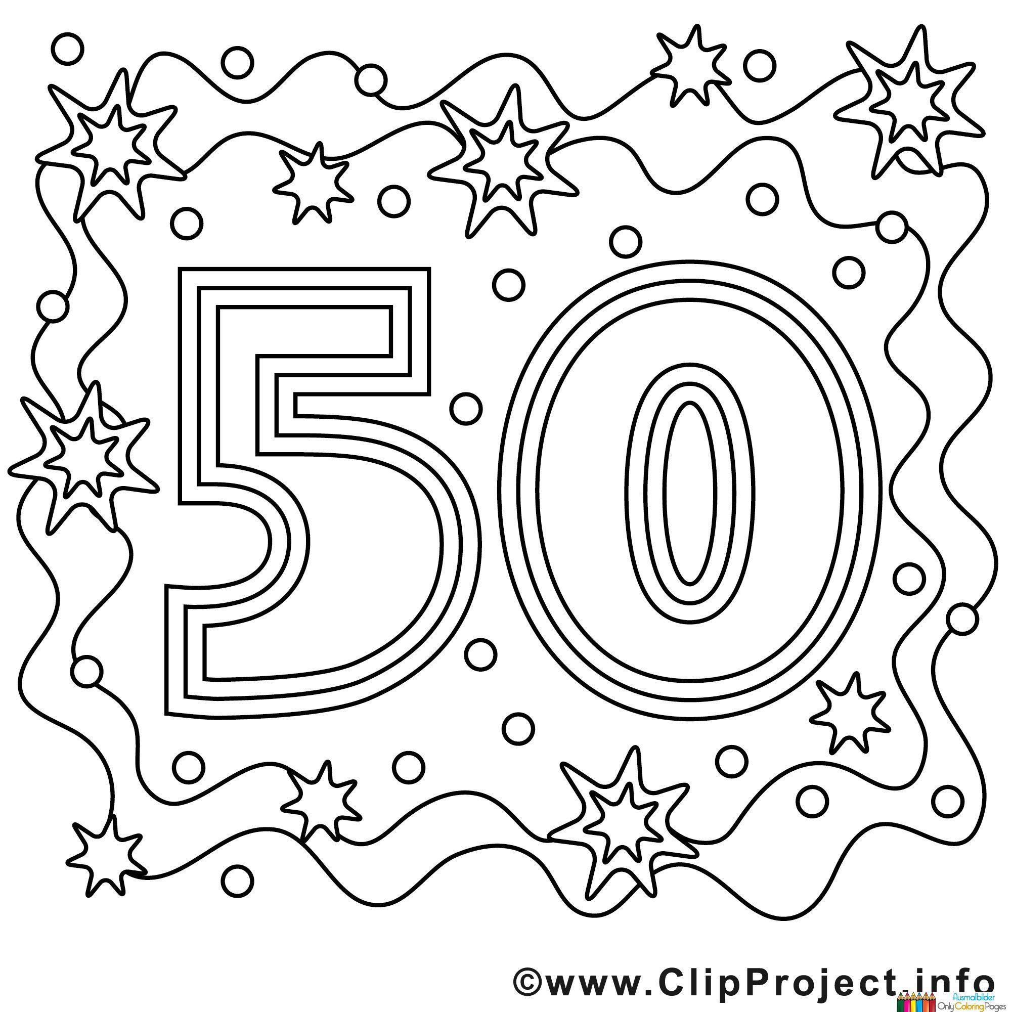 Ausmalbild zum 50 Geburtstag | 50. Geburtstag | Pinterest | Zum 50 ...