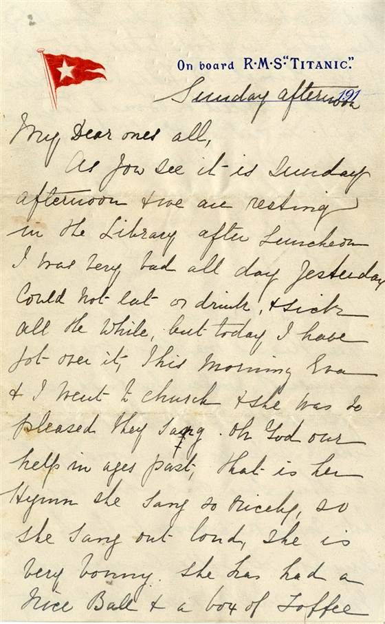 The letter was written by Titanic survivor Esther Hart, who was on board with her 7-year-old daughter, Eva, and her husband, Benjamin, the l...