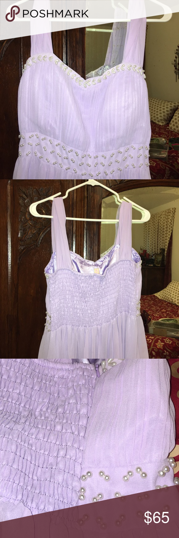 Light purple floor length dress 16w/18w Beautiful dress. Satin under with chiffon overlay. Pearl design around bodice. Side zipper also. Dress says 3x but fits more like a 16-18. Stretchy back. Wore for an hour during a ceremony. Message me for any other pictures :) K2 Dresses Maxi