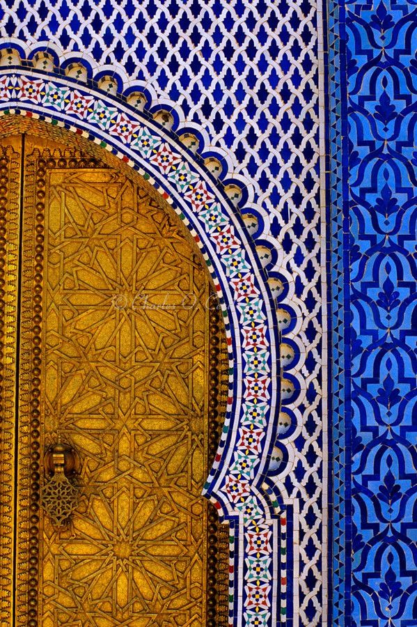 Fez, Morocco - Brass Door and Tile Work at the Royal Palace, Dar al-Makhzen