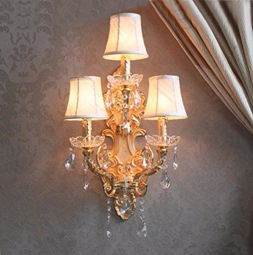 Online cheap modern wall lamp crystal home large sconce gold finish wall sconces led crystal wall light with fabric shade hotel bathroom mirror light by