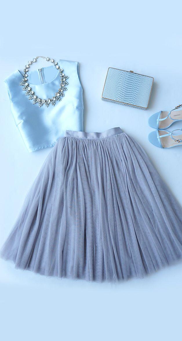 c44ad78c9c Look Cinderela com saia de tule Tulle Skirt Outfits, Blue Tulle Skirt, Tulle  Skirts