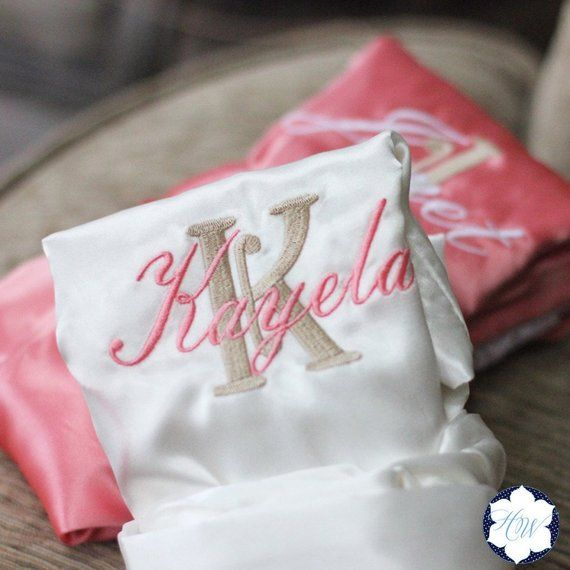 3144c2c58f SATIN Lace Bridal Robes Silk Bridesmaid Robe Gift Shower ~ Monogrammed  Personalized