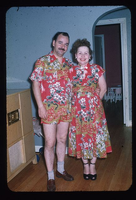 After making her dress there was still enough fabric for her husband.