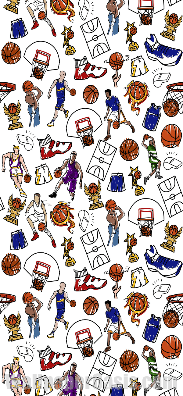 Free Colorful Basketball Doodle Iphone Wallpaper This Design Is