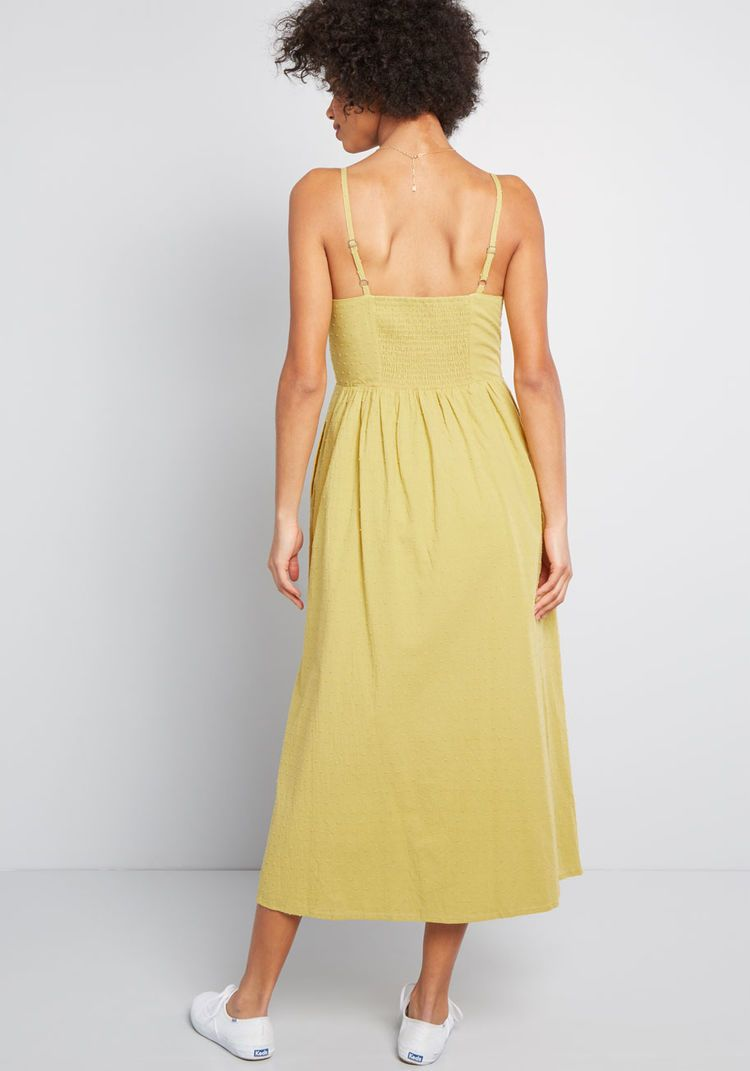 506ae49a661 ModCloth Quite Clearly Charismatic Midi Dress Yellow