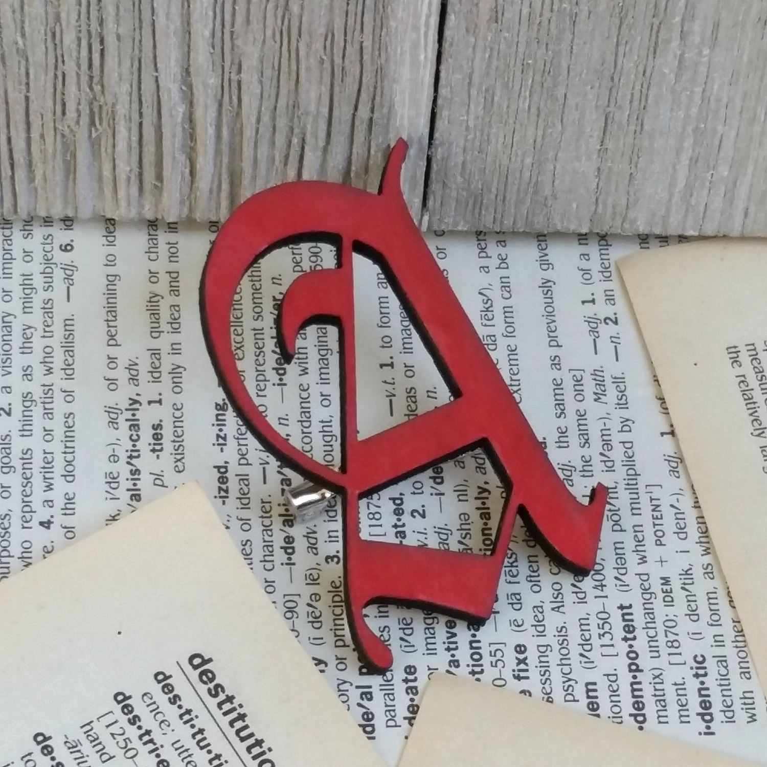 The Scarlet Letter Brooch, Red Letter A, Book Brooch, Book