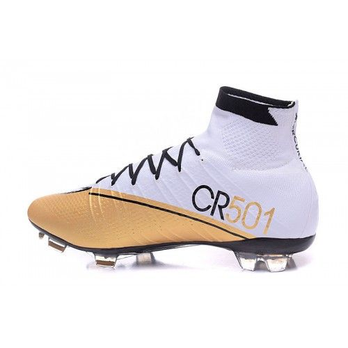 Nike Mercurial - Chuteira Da Nike Mercurial Superfly CR7 FG High-Top Branco  Dourado Preto 6153fc392ad6f