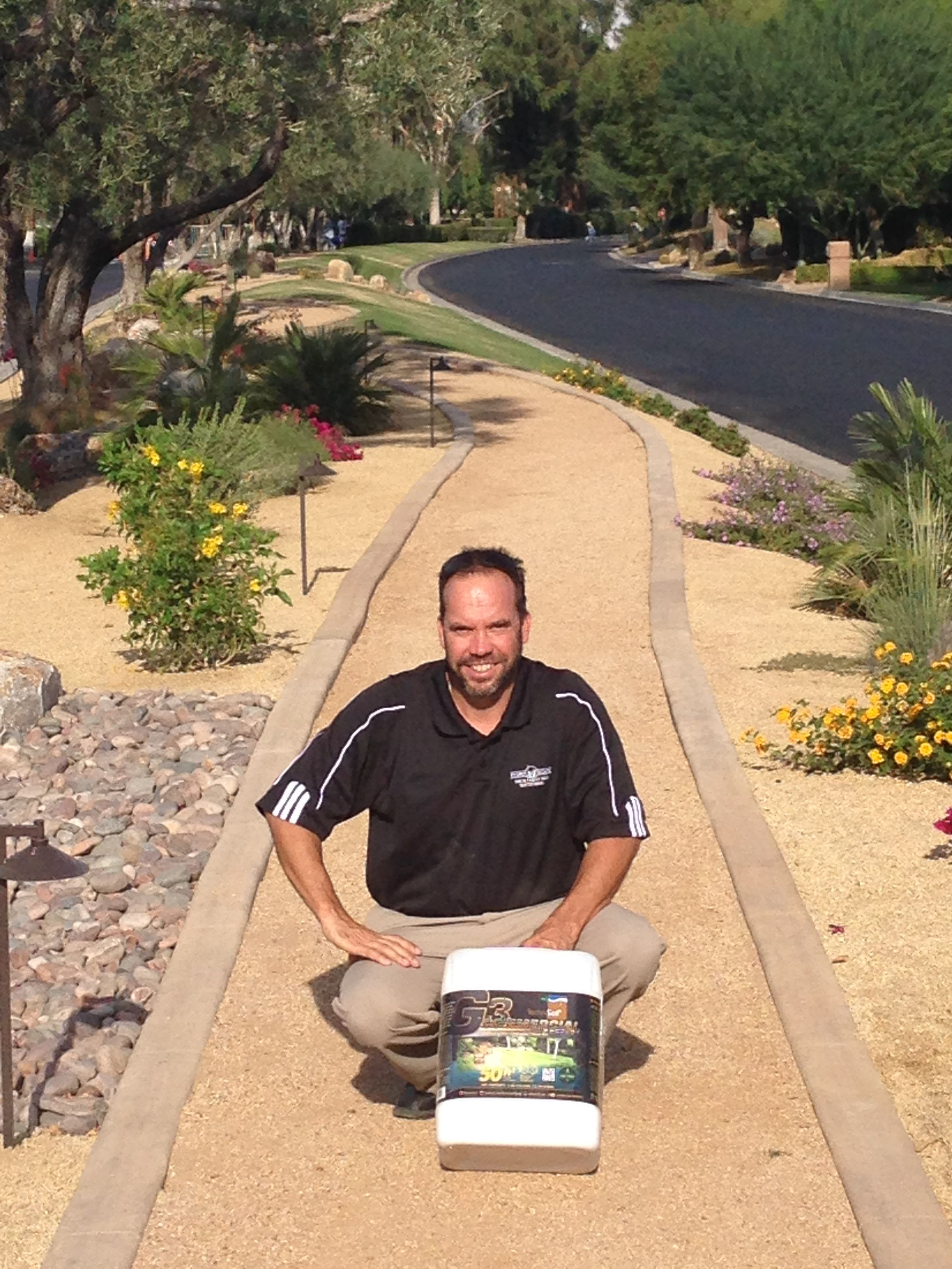 Xeriscape planter areas and DG walkway in commercial park ... on