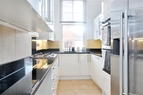 Smart Design Solutions For Narrow Galley Kitchens #whitegalleykitchens