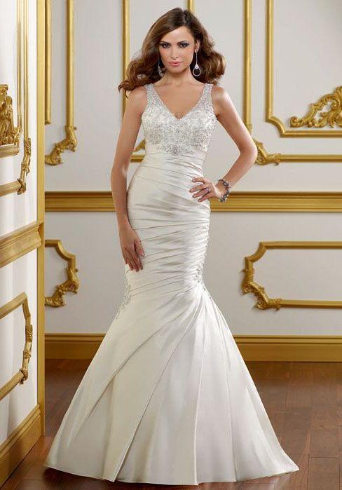 trumpet ruched applique v-neck court train satin wedding dress
