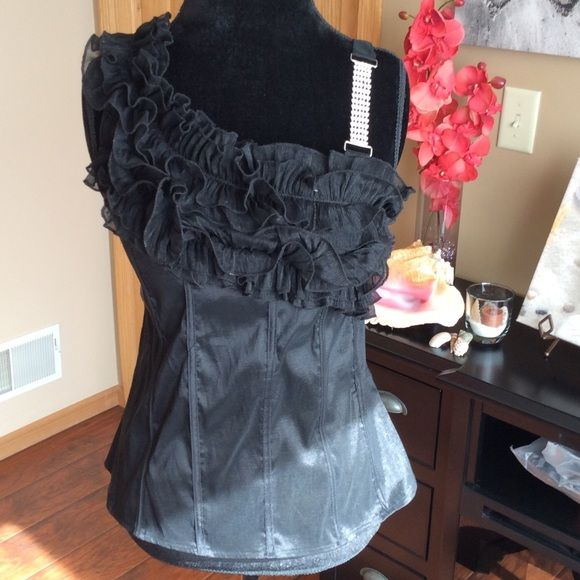 Rue 21 Top One sleeve look with a sparkly, adjustable strap on the opposite side. Strap can be tucked in. Rue21 Tops Camisoles
